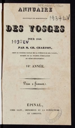Annuaire statistique et administratif des Vosges pour 1840