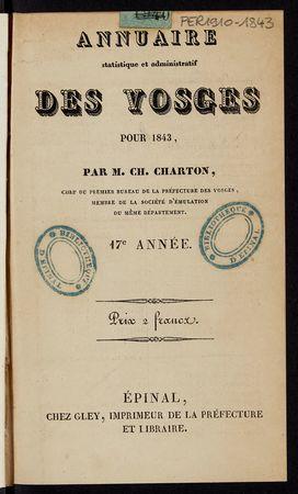 Annuaire statistique et administratif des Vosges pour 1843
