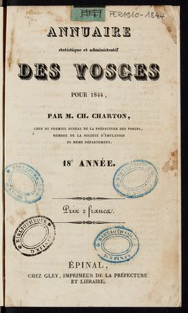 Annuaire statistique et administratif des Vosges pour 1844