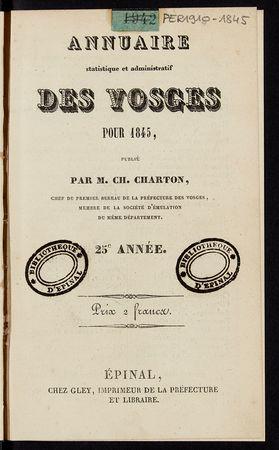 Annuaire statistique et administratif des Vosges pour 1845