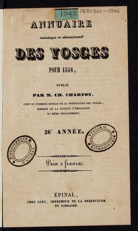 Annuaire statistique et administratif des Vosges pour 1846