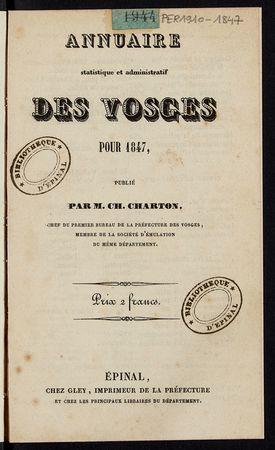 Annuaire statistique et administratif des Vosges pour 1847