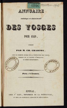 Annuaire statistique et administratif des Vosges pour 1849