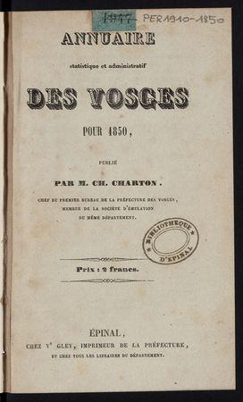 Annuaire statistique et administratif des Vosges pour 1850