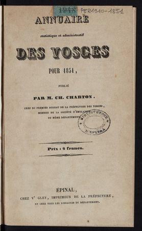 Annuaire statistique et administratif des Vosges pour 1851