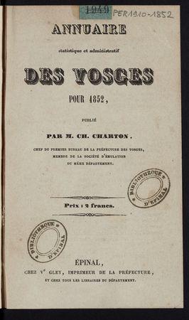 Annuaire statistique et administratif des Vosges pour 1852