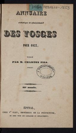 Annuaire statistique et administratif des Vosges pour 1853