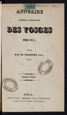 Annuaire statistique et administratif des Vosges pour 1854