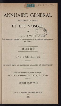 Annuaire général pour toute la France et les Vosges année 1881