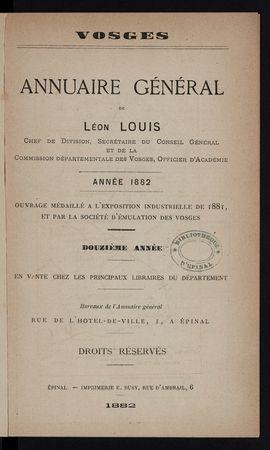 Vosges Annuaire général de Léon Louis année 1882