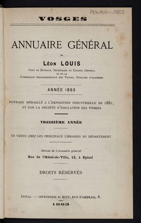 Vosges Annuaire général de Léon Louis année 1883