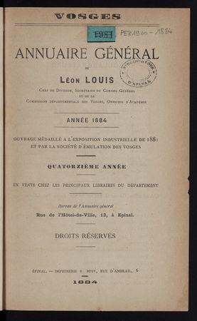 Vosges Annuaire général de Léon Louis année 1884