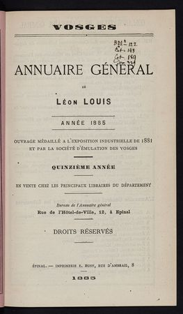 Vosges Annuaire général de Léon Louis année 1885