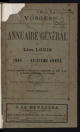 Vosges Annuaire général de Léon Louis 1886
