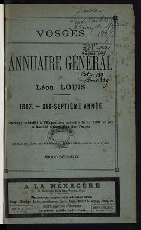 Vosges Annuaire général de Léon Louis année 1887