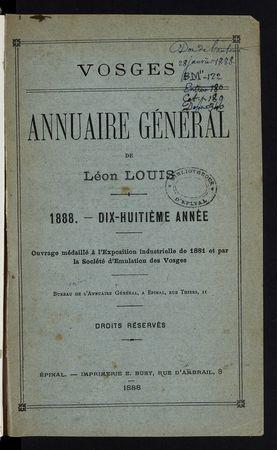 Vosges Annuaire général de Léon Louis année 1888