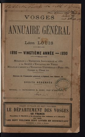 Vosges Annuaire général de Léon Louis 1890