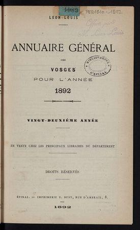 Annuaire général des Vosges pour l'année 1892