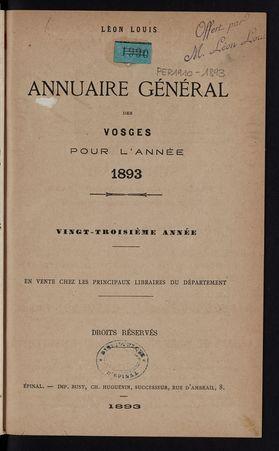 Annuaire général des Vosges pour l'année 1893