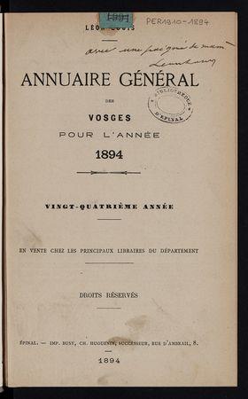 Annuaire général des Vosges pour l'année 1894