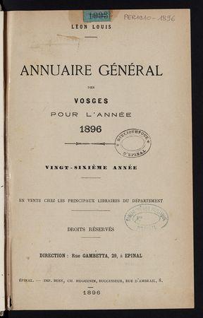 Annuaire général des Vosges pour l'année 1896