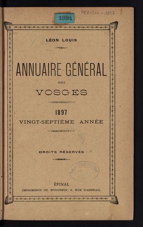Annuaire général des Vosges pour l'année 1897