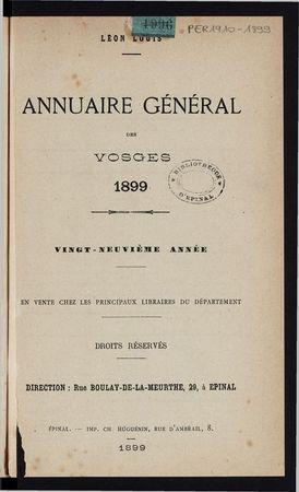 Annuaire général des Vosges pour l'année 1899