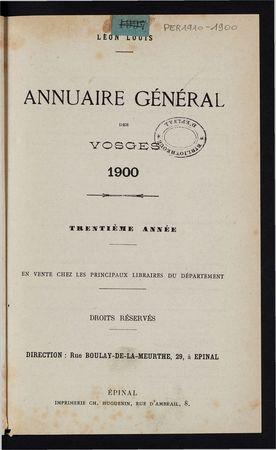 Annuaire général des Vosges pour l'année 1900