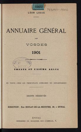 Annuaire général des Vosges pour l'année 1901