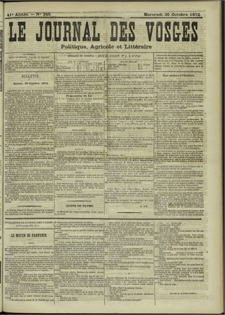 Le Journal des Vosges : politique, agricole et littéraire