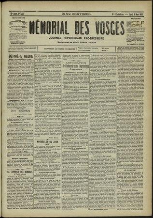 Le Mémorial des Vosges : Journal républicain progressiste