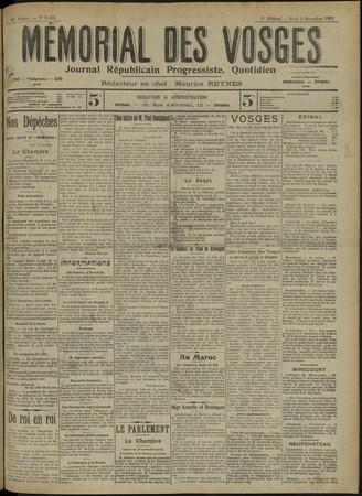 Le Mémorial des Vosges : Journal républicain progressiste, quotidien