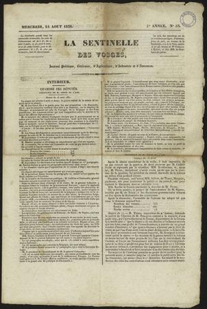 La Sentinelle des Vosges : journal politique, littéraire, d'agriculture, d…