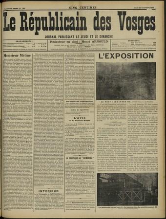 Le Républicain des Vosges, journal paraissant le jeudi et le dimanche