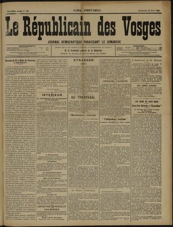 Le Républicain des Vosges, journal paraissant le dimanche