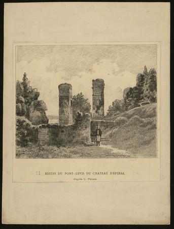 Restes du Pont-levis du Château d'Epinal d'après C. Pensée