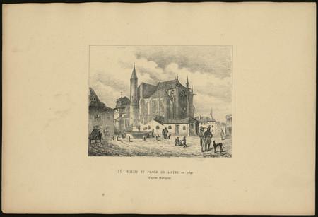 Église et place de l'Âtre en 1840 d'après Ravignat
