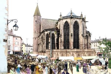 Épinal, la Basilique Saint-Maurice et le marché