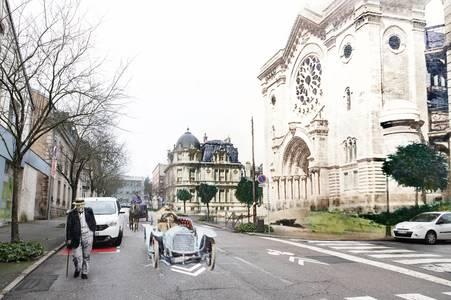 Épinal, rue Boulay-de-la-Meurthe et Église Notre Dame