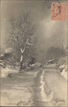 Épinal, Route de Poissompré, en hiver
