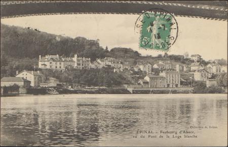 Épinal, Faubourg d'Alsace, vu du Pont de la Loge Blanche