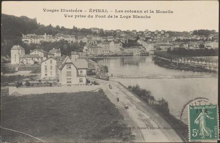 Épinal, Les Côteaux et la Moselle, Vue prise du Pont de la Loge Blanche
