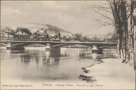Épinal, Paysage d'hiver, Pont de la Loge-Blanche