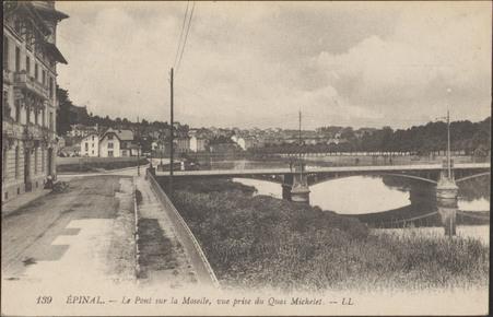 Épinal, Le Pont sur la Moselle, vue prise du Quai Michelet