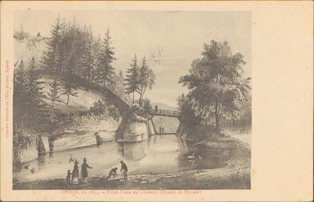 Épinal en 1834, Pièce d'eau au Château (Dessin de Pensée)