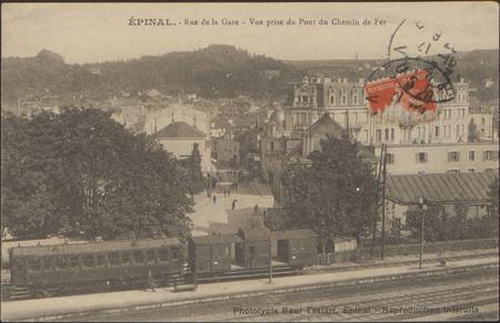Épinal, Rue de la Gare, Vue prise du Pont du Chemin de Fer