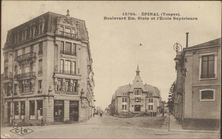 Épinal (Vosges), Boulevard Em. Stein et l'École Supérieure
