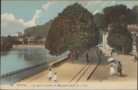 Épinal, Le Quai de Juillet et Monument 1870-71
