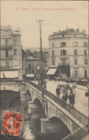 Épinal, Le Pont et l'Entrée de la Rue Léopold-Bourg