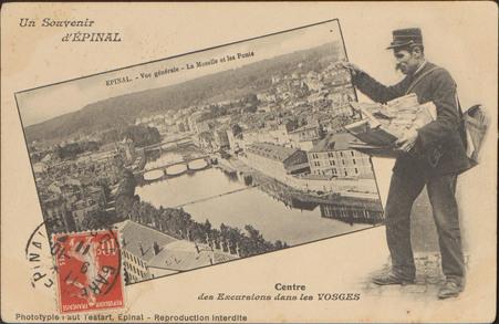Un Souvenir d'Épinal, Épinal, Vue générale, La Moselle et les Ponts, Centr…